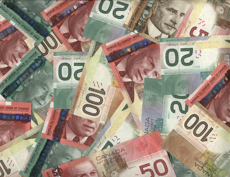 Background of Canadian bills stock images