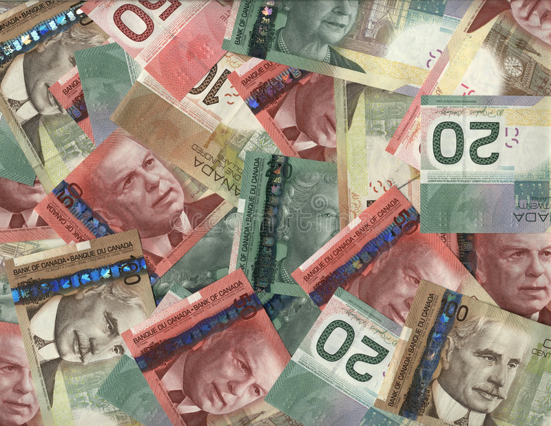 Background of Canadian bills royalty free stock photography