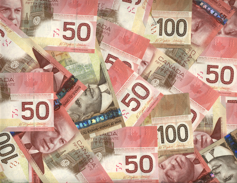 Background of Canadian fifty and hundred dollar bills stock image