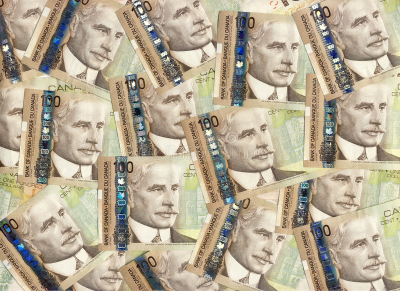 Background of Canadian one hundred dollar bills. Background of new Canadian one hundred dollar bills with Robert Borden. Horizontal orientation royalty free stock images