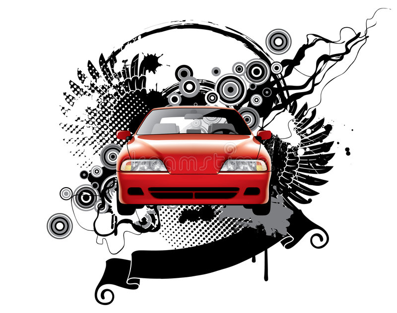 Background with a car royalty free illustration