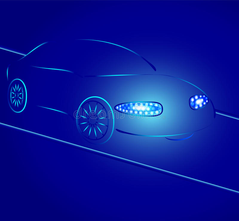 Download Background From A Car Silhouette In Neon Light Stock Vector - Image: 21142575