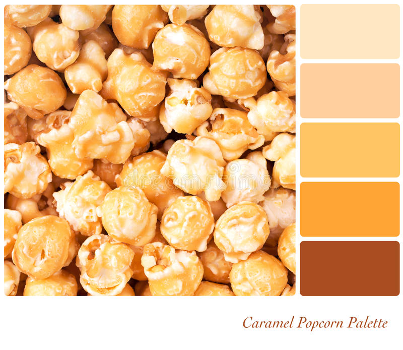Caramel Popcorn Palette. A background of caramel popcorn in a colour palette with complimentary colour swatches royalty free stock image