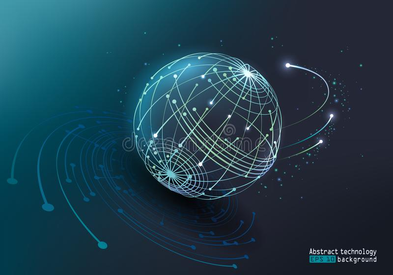 background card congratulation invitation Световой эффект вектора накаляя Абстрактное изображение планеты сделанной точек и линий бесплатная иллюстрация