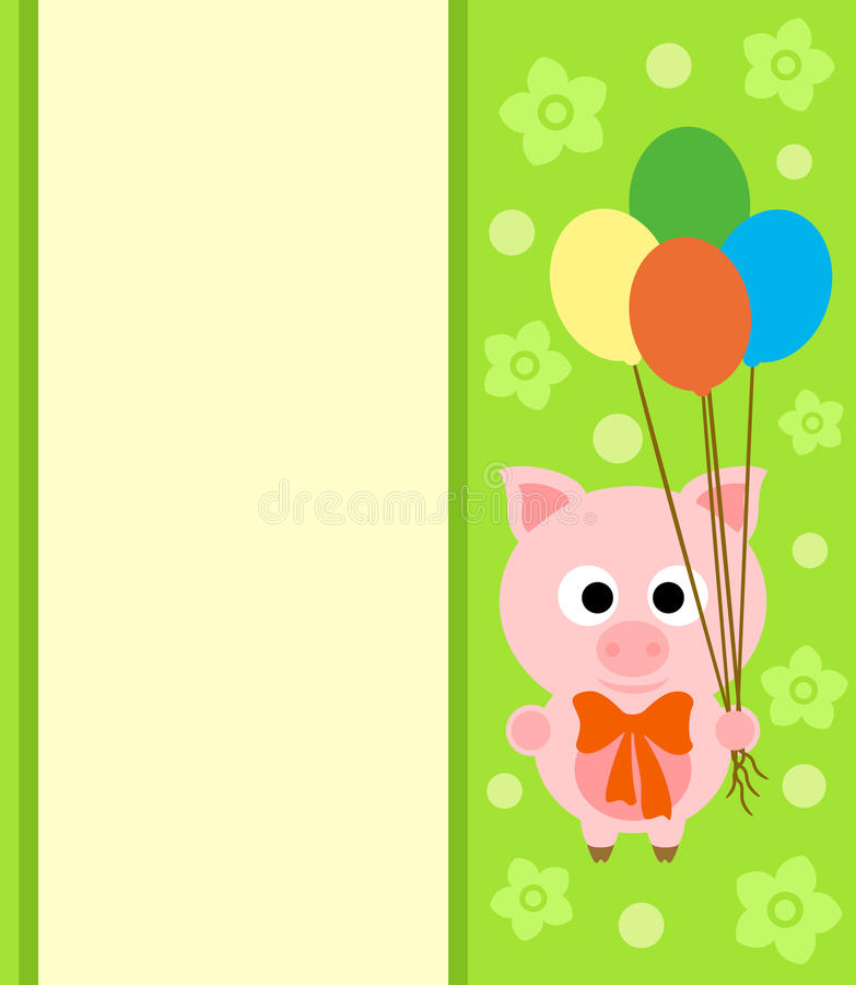 Background card with pig royalty free illustration
