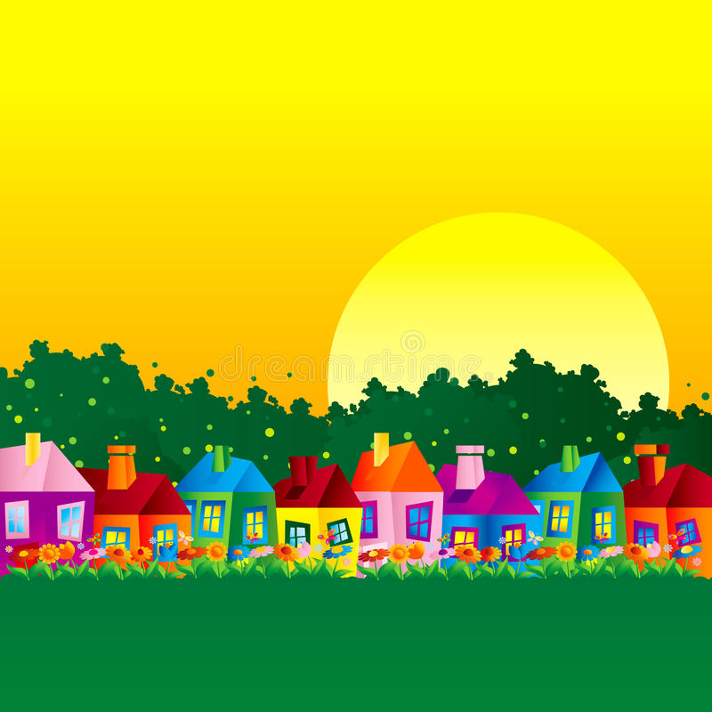 Background caricature house stock photos