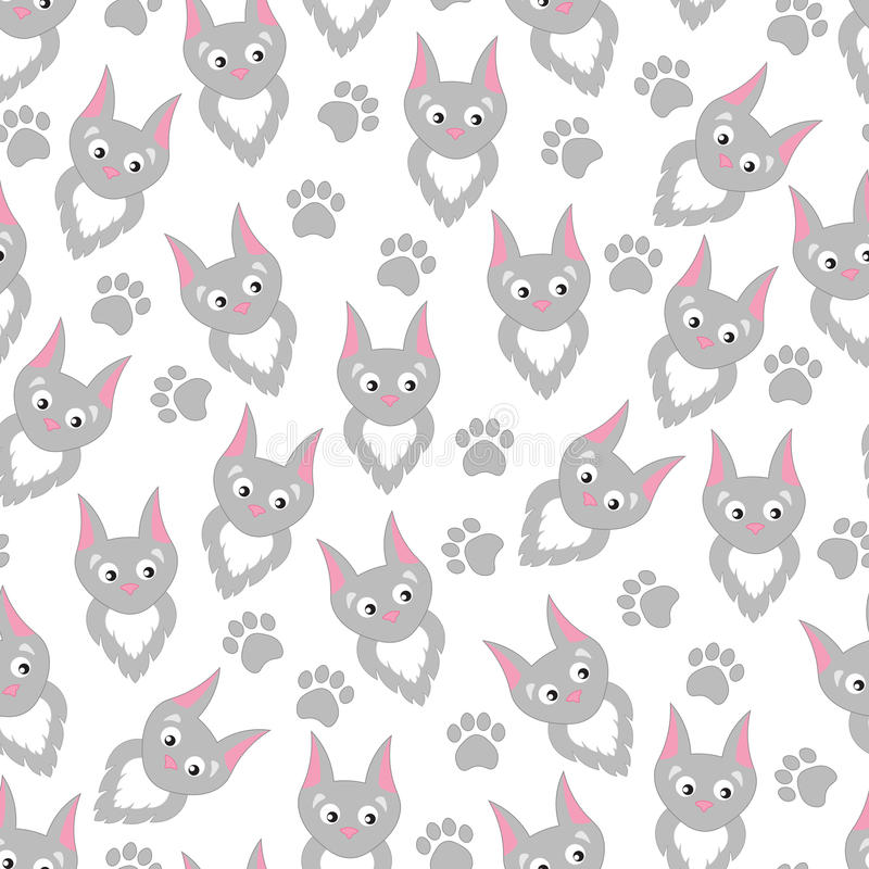Background cartoon cats and paw prints. Children's pattern with funny cute kitties vector illustration