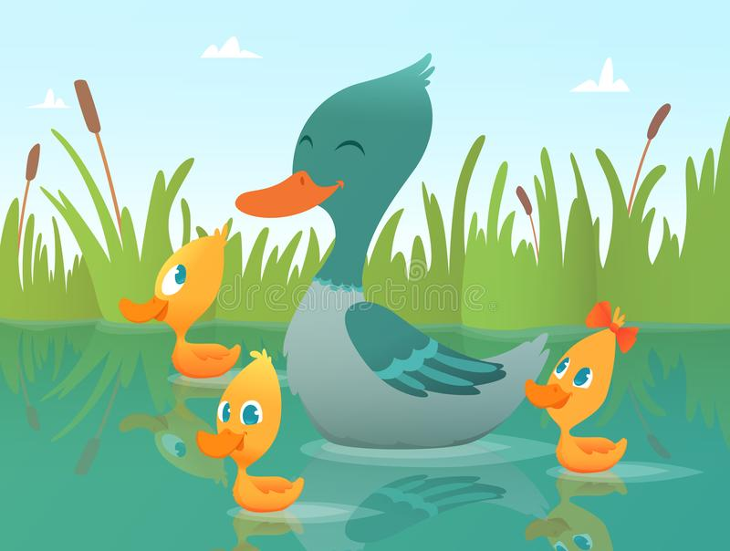 Background cartoon duck. Illustrations of funny ducks. Vector duck smile and ducky animal, duckling bird vector illustration