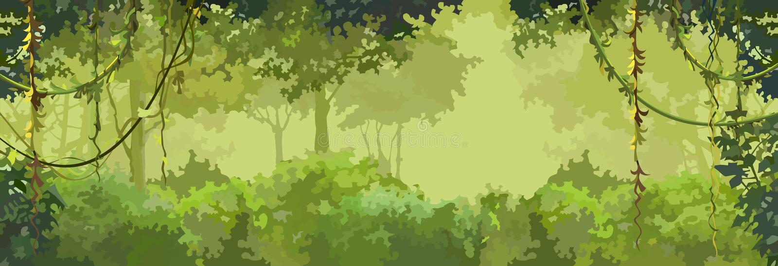 Background cartoon green leafy forest with lianas stock illustration