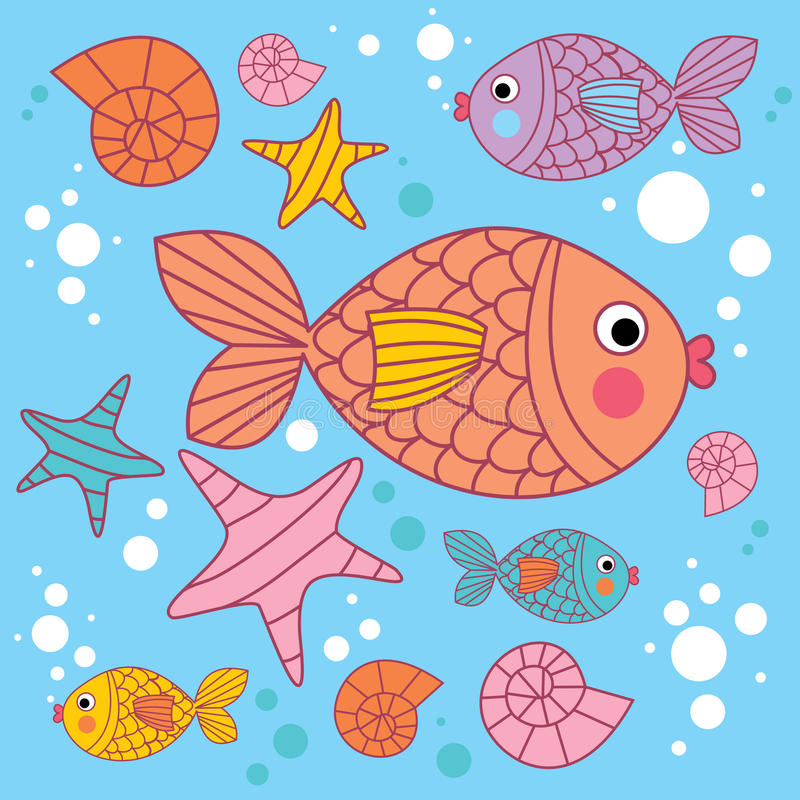 Download Background With Cartoons Fish Stock Vector - Image: 13414714