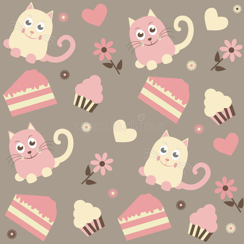 Background with cats and cakes. Seamless background with cats and cakes stock illustration