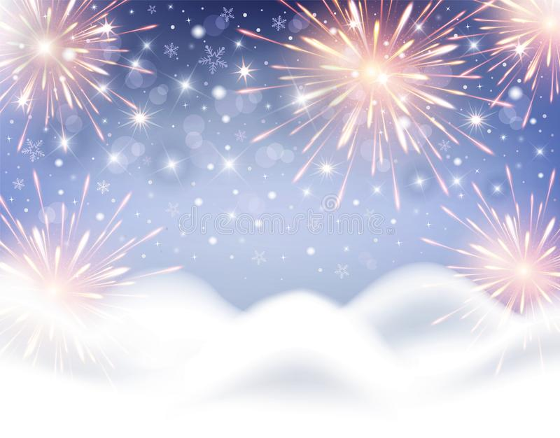 Background for celebration of Christmas and New Year with fireworks and snowflakes royalty free stock photos