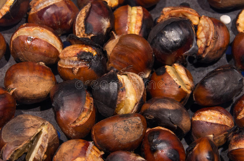 Background of chestnut. Burnt or cooked stock image