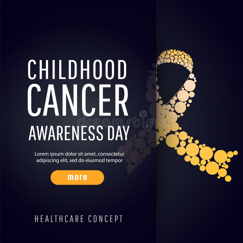 Banner for childhood cancer awareness day. Background for childhood cancer awareness day, with symbol realistic gold ribbon, vector illustration stock illustration