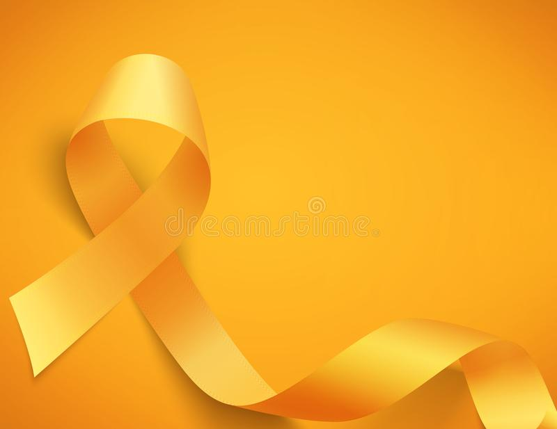 Childhood cancer day. Background for childhood cancer awareness day, with synbol realistic gold ribbon, vector illustration stock illustration
