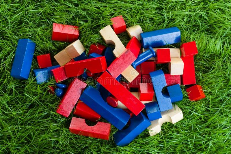 Background of children's wooden blocks. stock photos