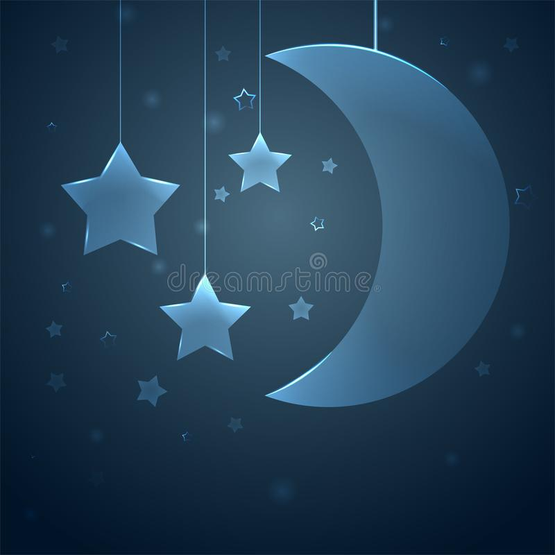 Background for the childrens room. Moon with stars in a dark blue sky. Illustration vector illustration