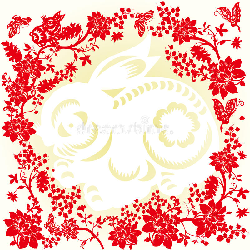 Background of chinese paper cut stock vector illustration of craft background of chinese paper cut of rabbit and flowers mightylinksfo