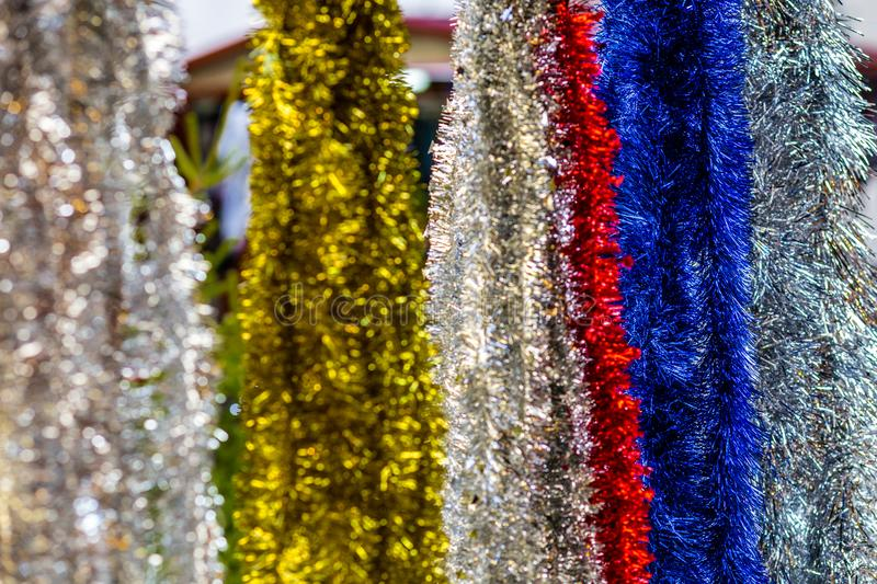 Christmas streamers decorations stock image
