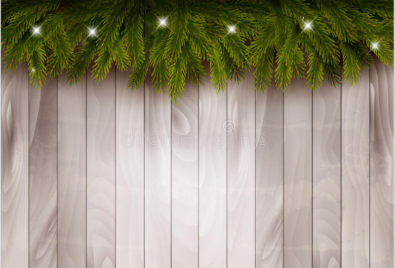 Background with christmas tree branches and baubles in front of a wooden wall. Vector vector illustration