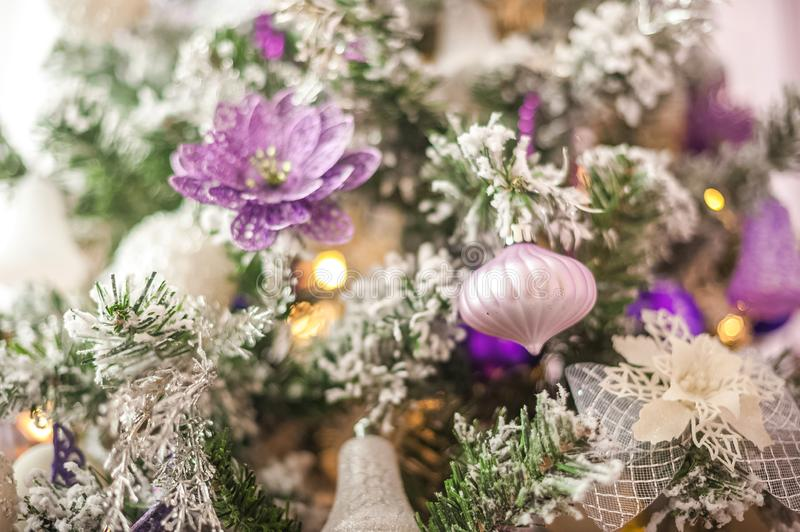 Background from a Christmas tree decorated in blue and purple close-up. Greeting card from a Christmas tree with purple decoration stock photos