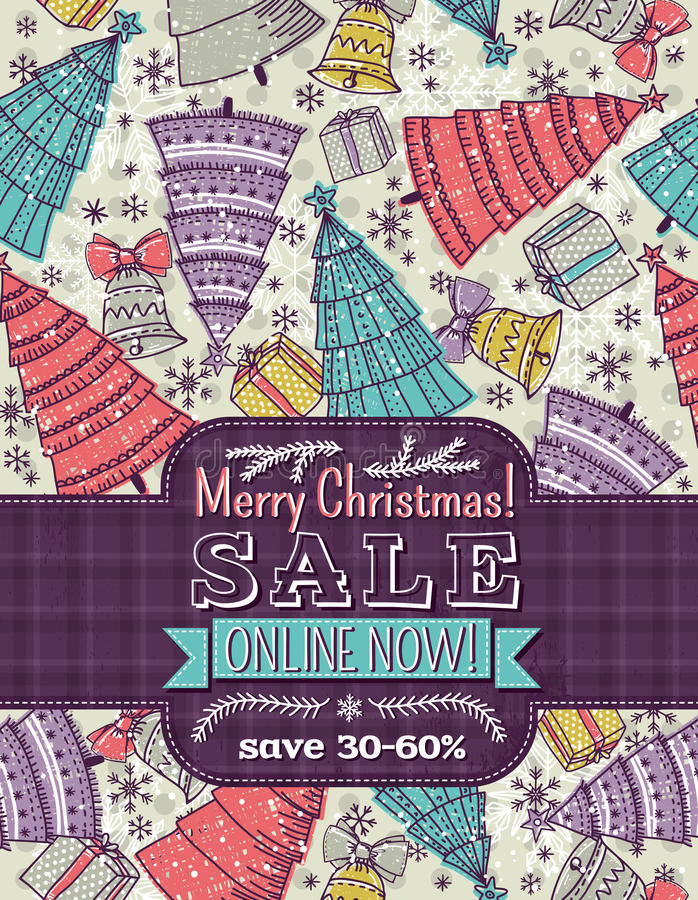 Background with christmas trees and label with sal vector illustration