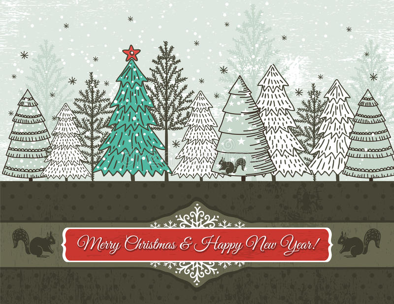 Background with christmas trees, vector royalty free illustration