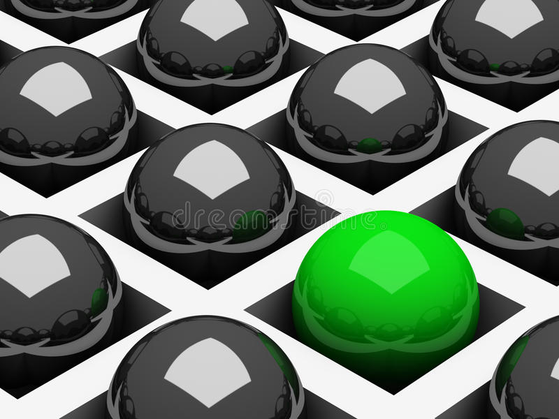 Background with chrome black and green balls stock illustration