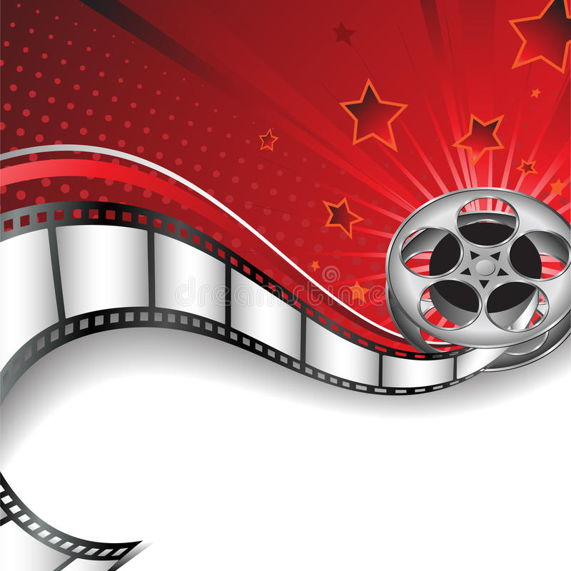 Background with Cinema Motives. Vector illustration representing an abstract background with film reel and space for text royalty free illustration