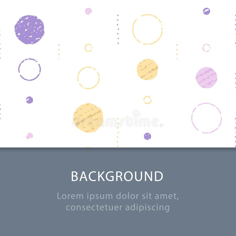 Subtle grunge texture, background with circles, vintage abstract backdrop, minimalist pattern, festive decoration stock illustration