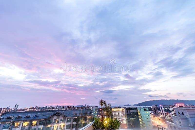 Background Cityscape Of Kota Kinabalu City At Sunset ...