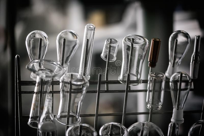 Download chemistry glassware in laboratory clean beakers ready to be used stock photo image