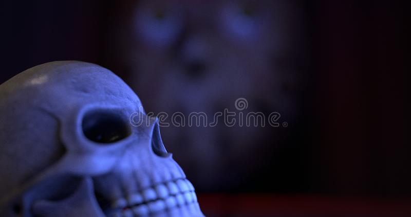 Close-up view of a skull. stock illustration