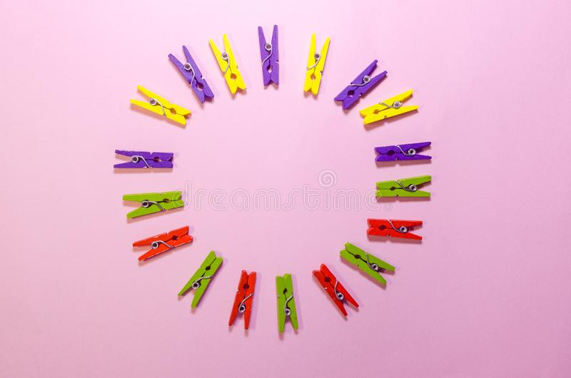 Background of clothespins stock images