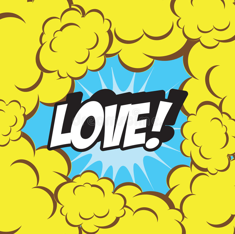 Background clouds retro LOVE retro and vintage background comics style stock illustration