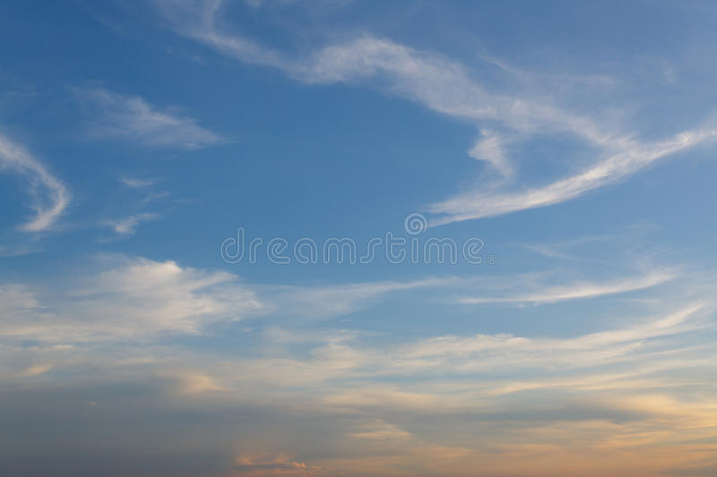 Background Clouds and sky at sunset. Background beautiful Clouds and sky at sunset stock photography