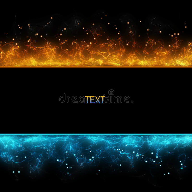 Background with cold and hot fire stock illustration