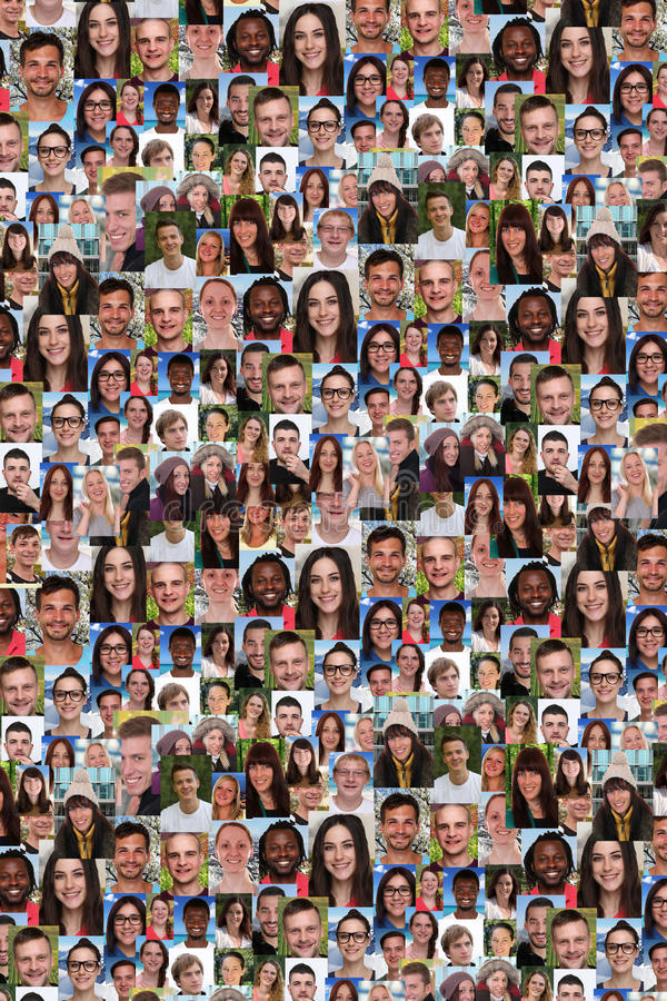 Background collage group of multiracial young people social media royalty free stock photography