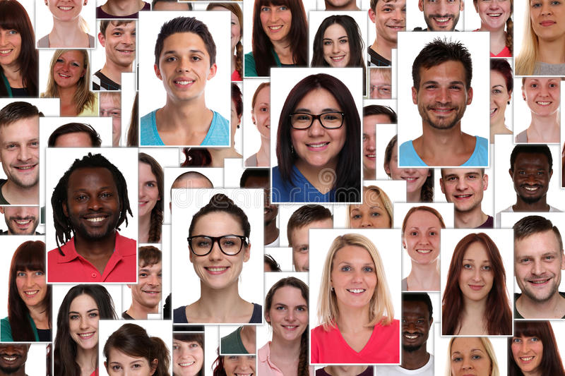 Background collage group of multiracial young smiling happy people portrait stock images