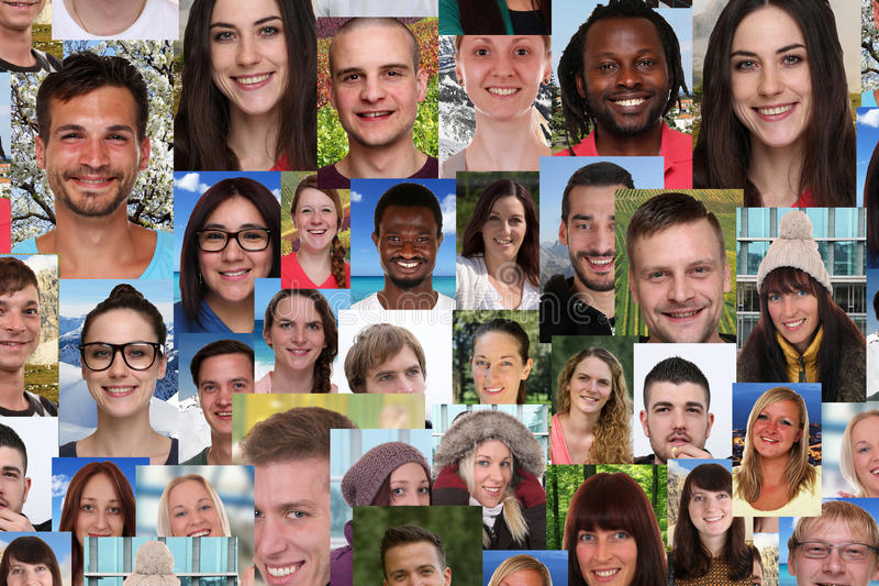 Background collage group of multiracial young smiling people soc. Background collage group portrait of multiracial young smile smiling people social media royalty free stock photo