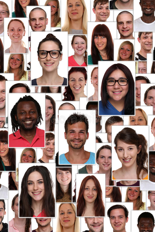 Background collage group portrait of multiracial young smiling p royalty free stock photo
