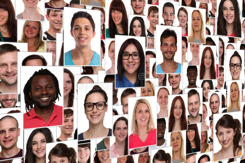 Background collage group portrait of young smiling many people royalty free stock photo