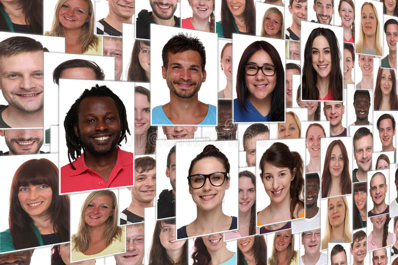 Background collage group portrait of young smiling people stock photos