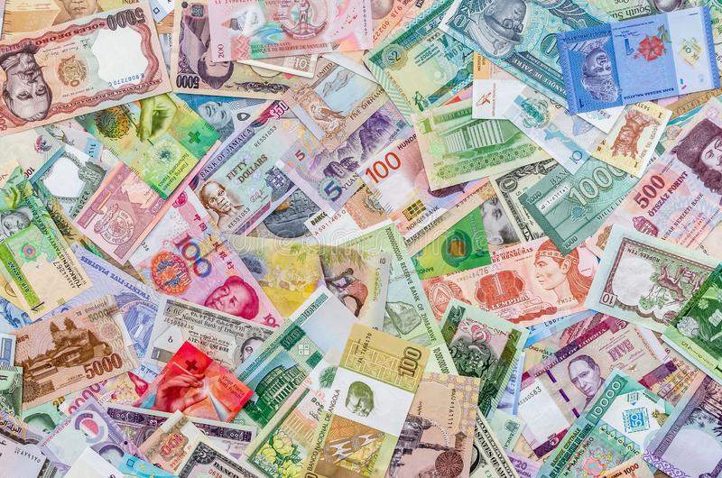 Background from collection of all world money banknotes stock image
