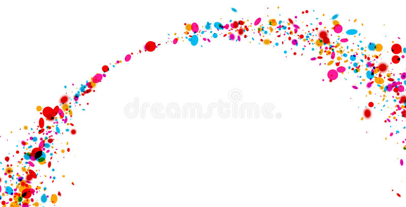 Background with color drops. White paper background with arch of color drops. Vector illustration stock illustration