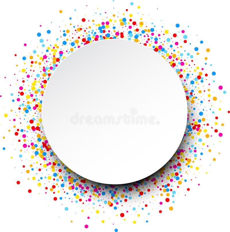 Background with color drops. White round background with color drops. Vector illustration stock illustration