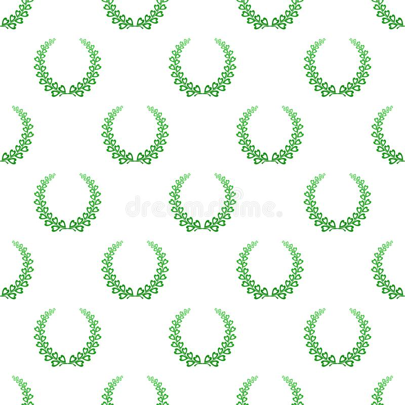The background color of green laurel wreaths composed of two branches with colorful hearts and stalks for the second place for win. Ner on a white background stock illustration