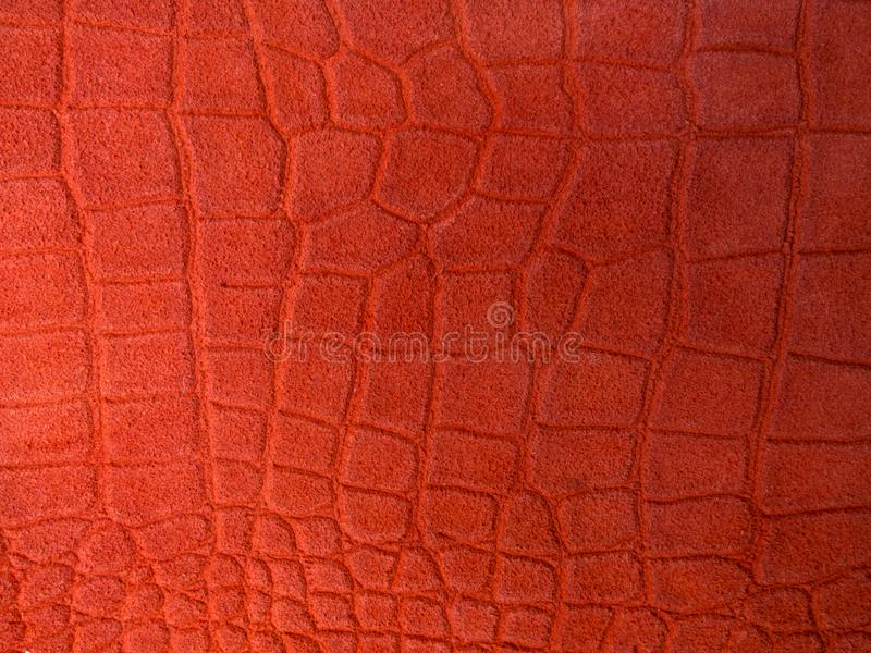 Leather background with color of the year 2019 - Living Coral. Place for text. coral concept royalty free stock photography