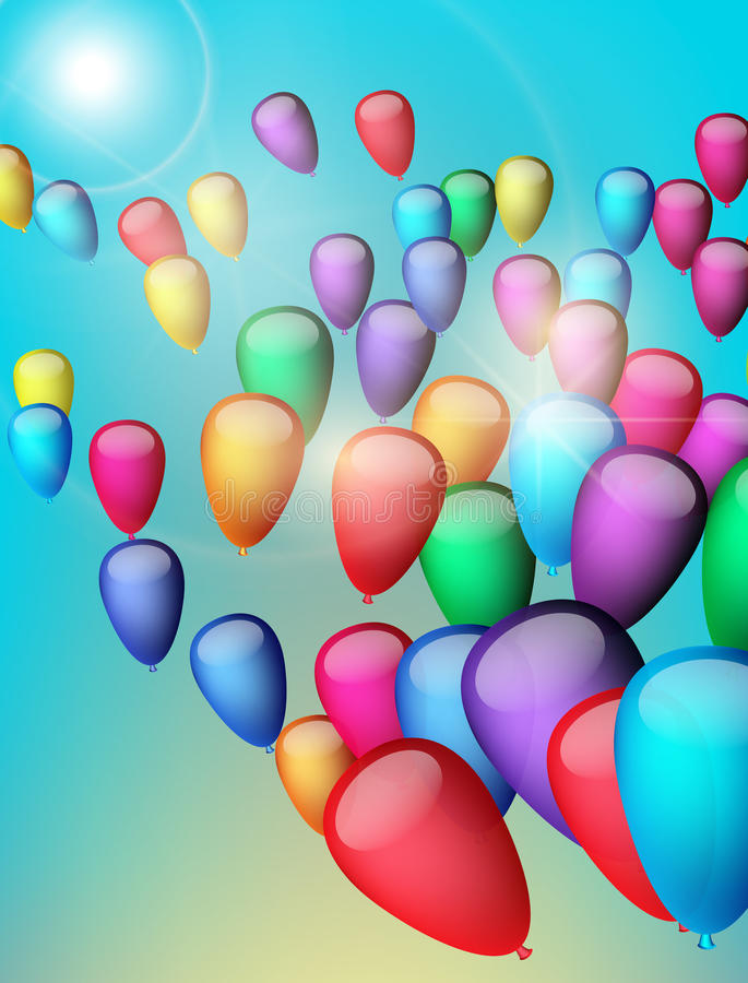 Background with colorful balloons in the sky, illustration. Greeting Card. Background with balloons in the sky, illustration royalty free illustration
