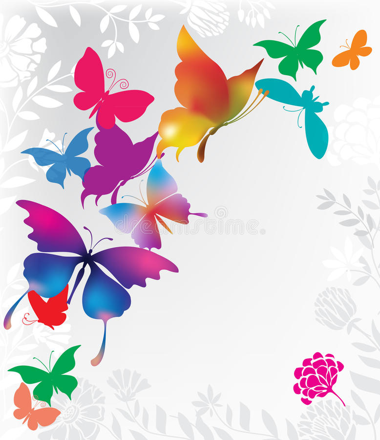 Background with colorful butterflies. Grey background with colorful butterflies stock illustration